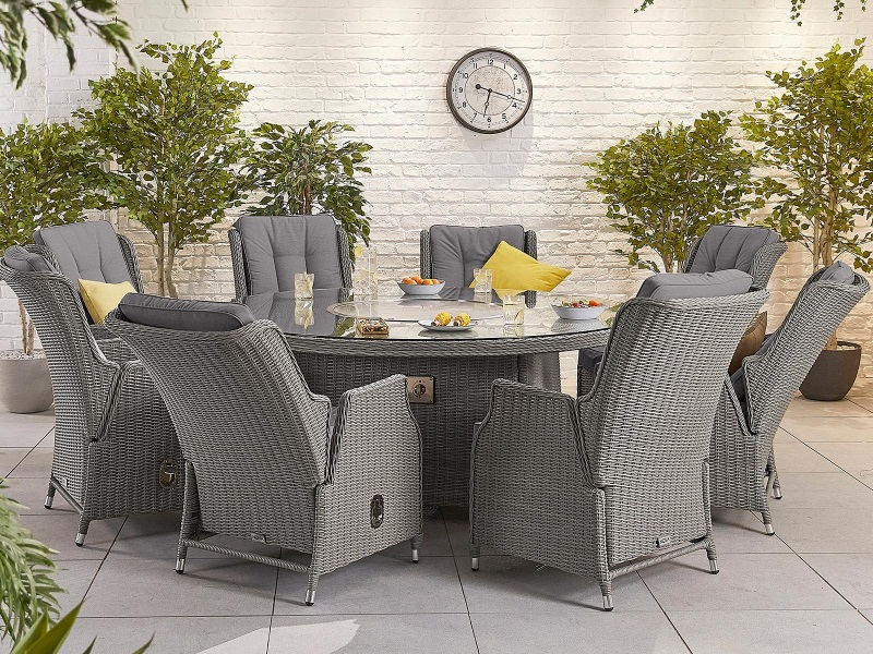Nova Outdoor Living Heritage Ina 8, Grey Rattan Garden Furniture With Fire Pit Table