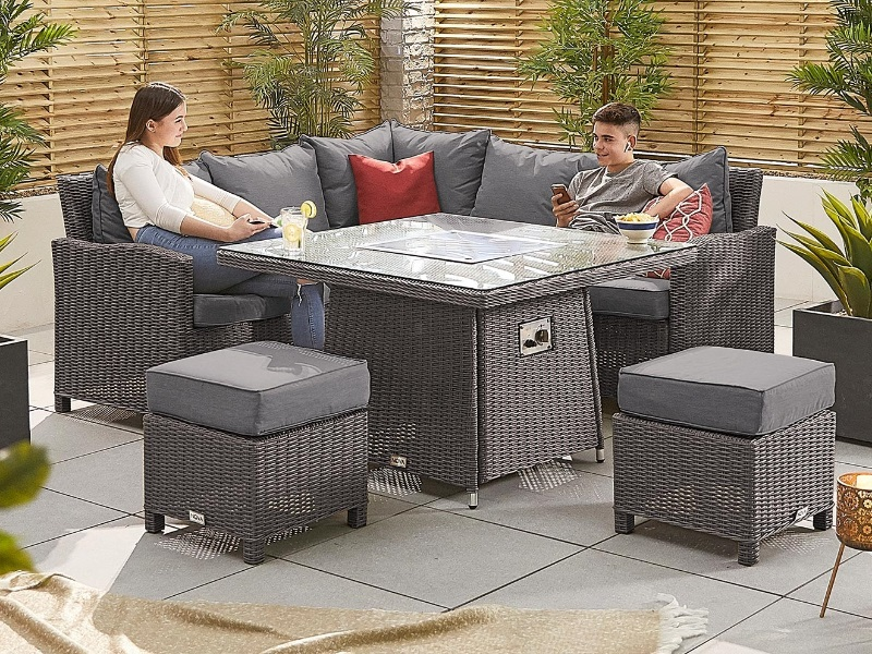 Fire Pit Table Corner Sofa Set, Grey Rattan Garden Furniture With Fire Pit Table