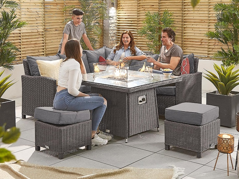 Fire Pit Table Corner Sofa Set, Rattan Garden Furniture Set With Fire Pit Table