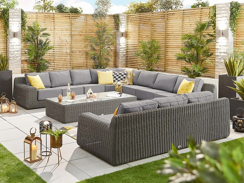 Nova Outdoor Living Luxor 4G Corner Sofa Set Slate Grey Rattan Corner Sofa set Image0 Image