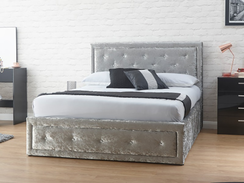 GFW Hollywood Ottoman - Crushed Velvet 4\' 6 Double Ottoman Bed Image0 Image