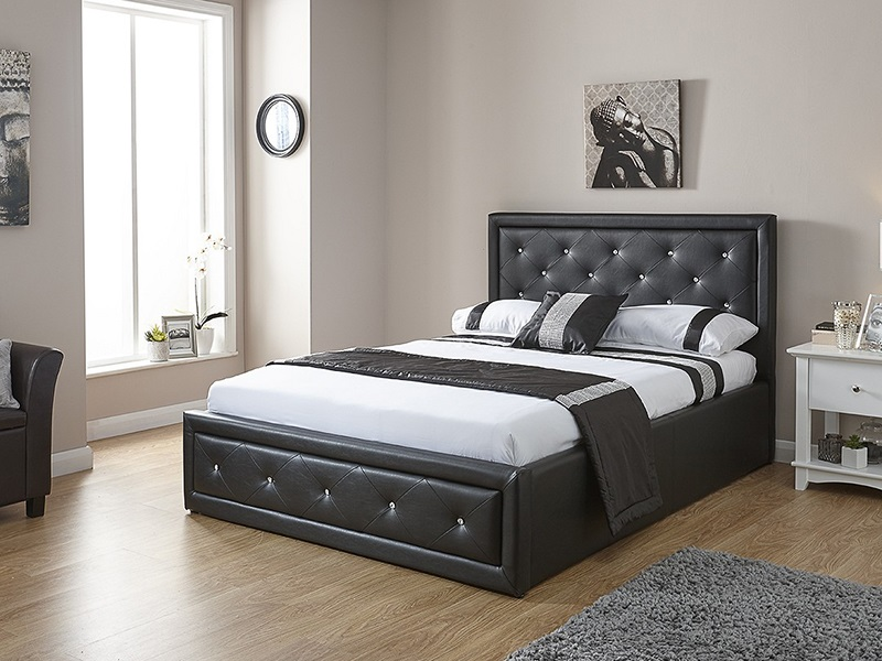 GFW Hollywood Black Ottoman 3\' Single Ottoman Bed Image0 Image