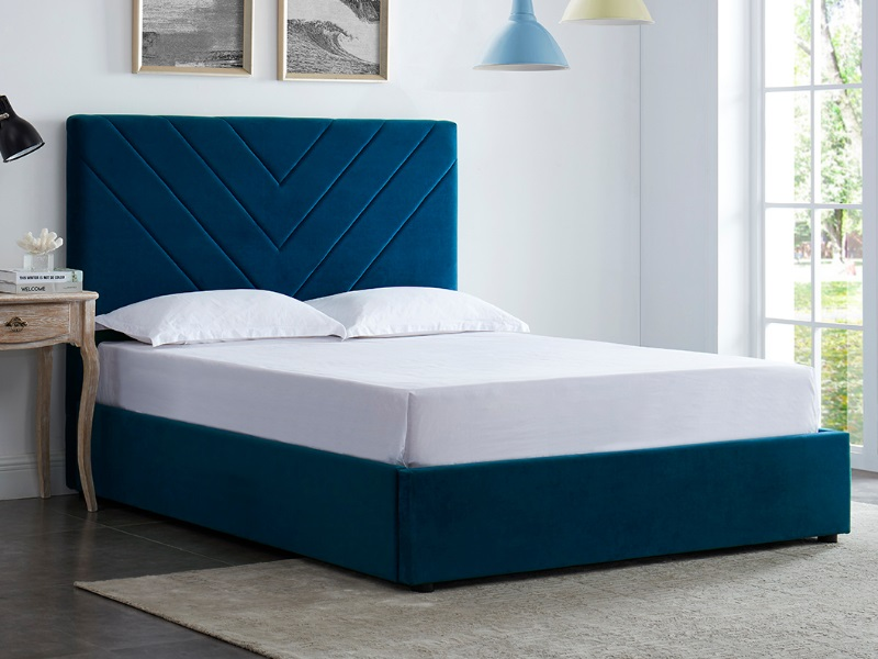 Furniture Express Islington 4\' 6 Double Fabric Blue Fabric Bed Image0 Image