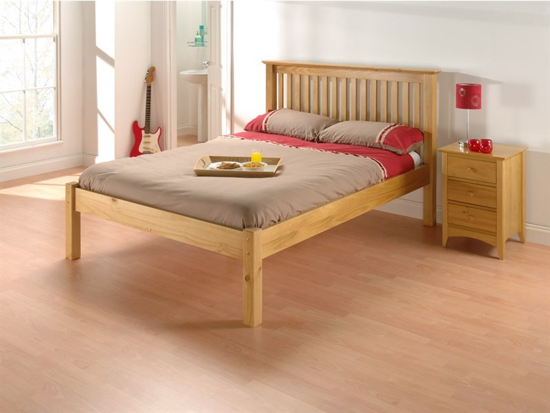 Julian Bowen Barcelona Pine Low Foot End 4\' 6 Double Natural Slatted Bedstead Low Foot End Wooden Bed Image0 Image