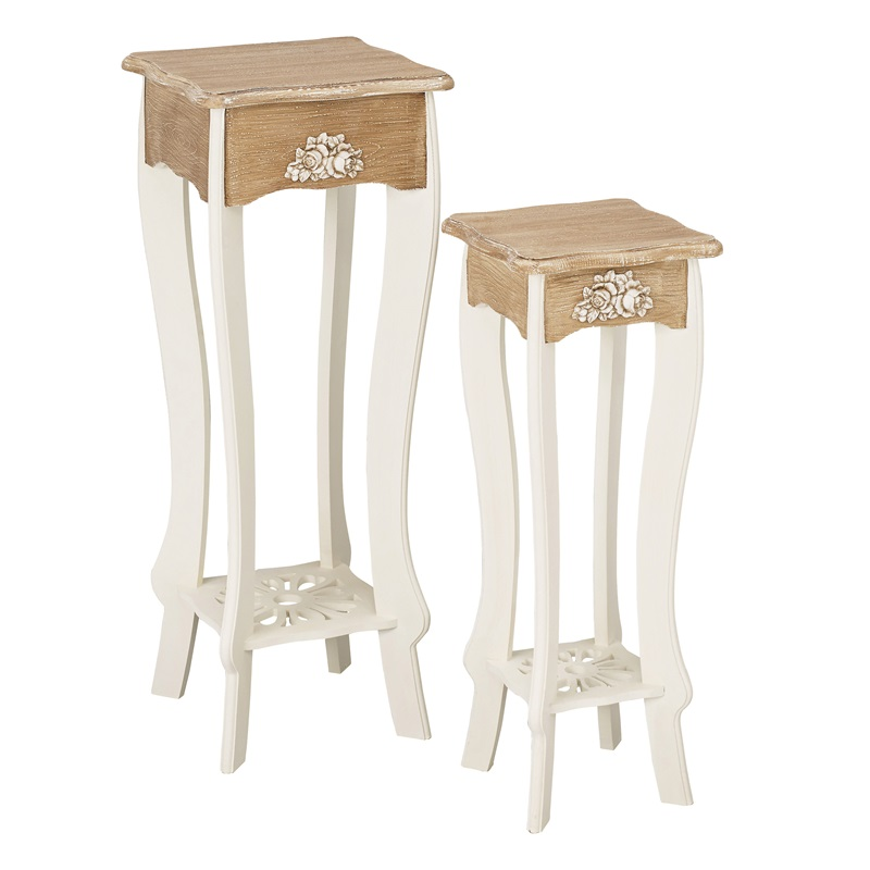 LPD Furniture Juliette Lamp Stand (Set of 2) Cream Lamp Table Image0 Image