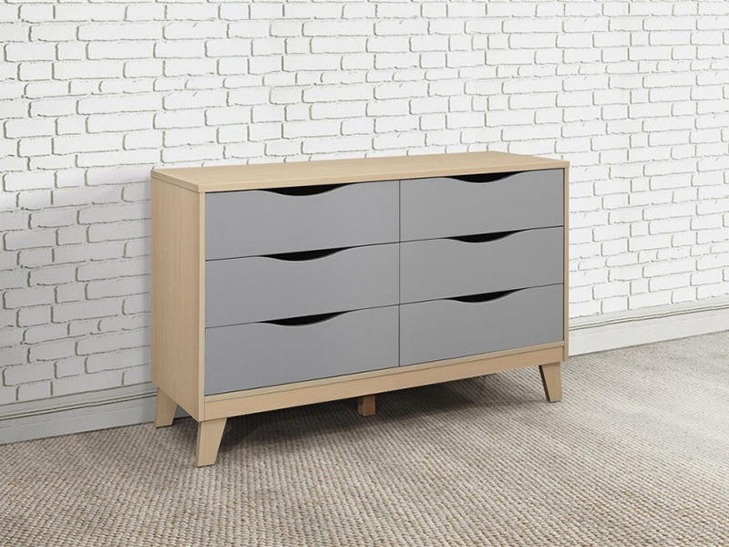 Kingston 3 + 3 Chest in Beech & Grey Main Image