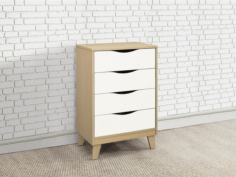Kingston 4 Drawer Chest in Beech & White Main Image