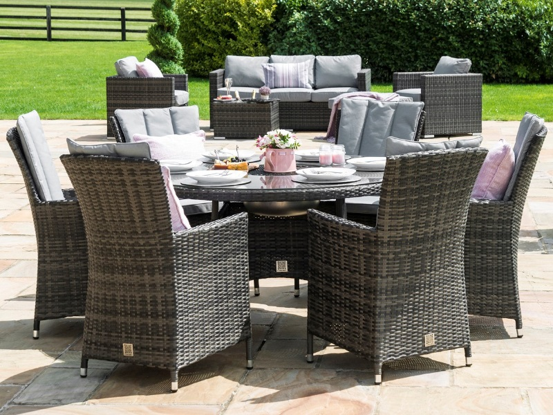 Maze Rattan LA 6 Seat Round Ice Bucket Dining Set with Lazy Susan Grey Rattan Dining Set Image0 Image