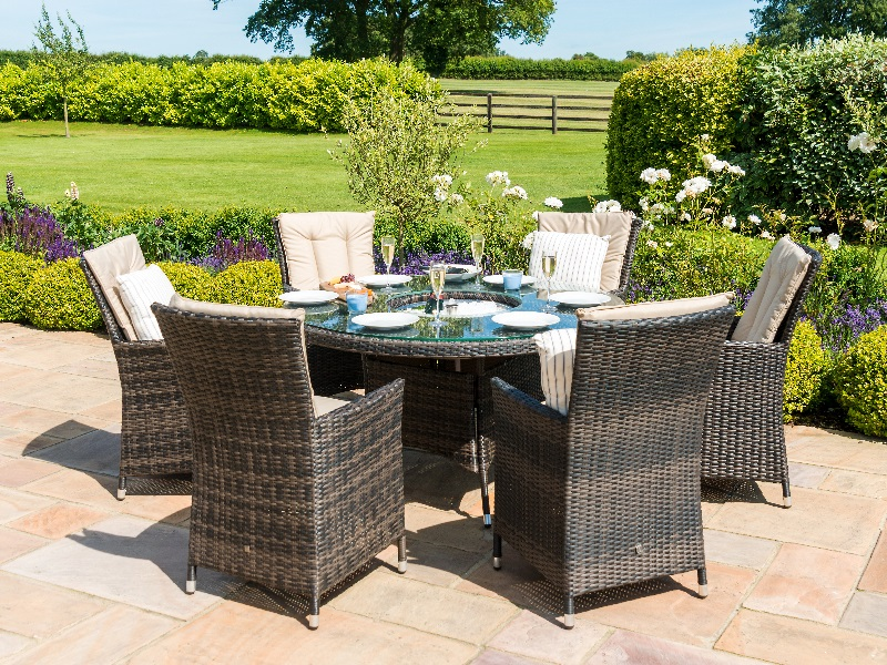 Maze Rattan LA 6 Seat Round Ice Bucket Dining Set with Lazy Susan Brown Rattan Dining Set Image0 Image