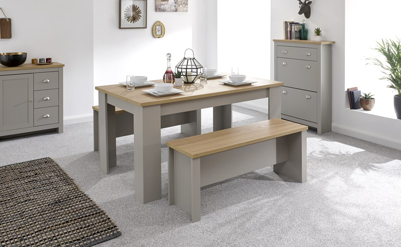 GFW Lancaster 150cm Dining Table & Benches Paint Grey Dining Set Image0 Image