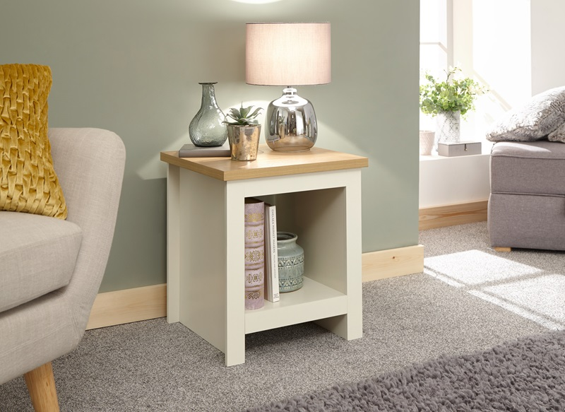 GFW Lancaster Side Table With Shelf Paint Cream Lamp Table Image0 Image