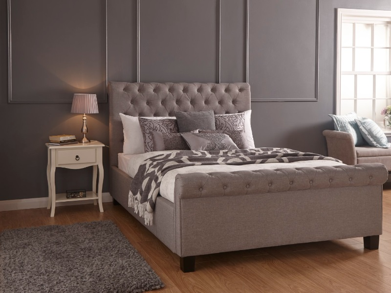 GFW Layla Ottoman Grey 4\' 6 Double Layla Silver Ottoman Bed Image0 Image