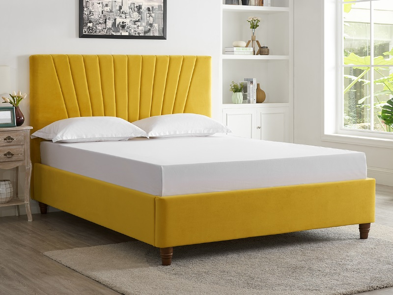 LPD Furniture Lexie 4\' 6 Double Mustard Fabric Bed Image0 Image