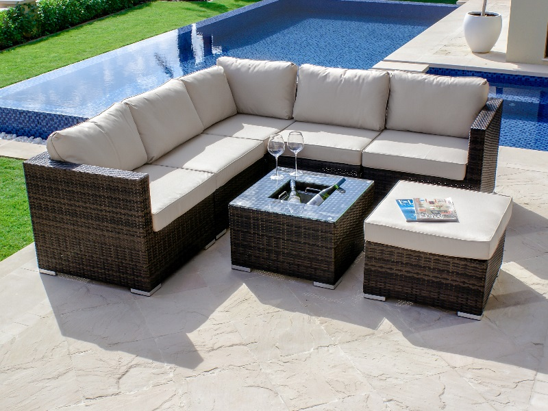 brown maze rattan london corner sofa set