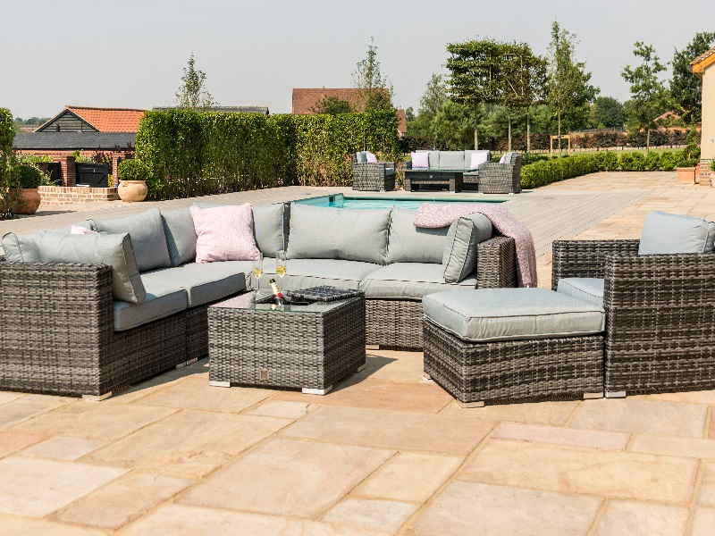 Maze Rattan London Corner Group with Ice Bucket and Chair Grey Rattan Corner Sofa set Image0 Image