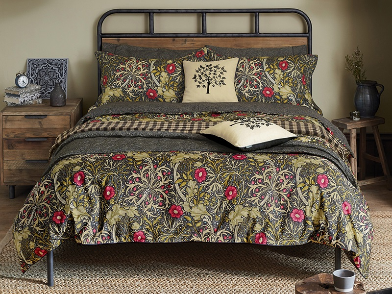 william morris and co Morris Seaweed Duvet Cover Black 4\' 6 Double Double Duvet Cover Image0 Image