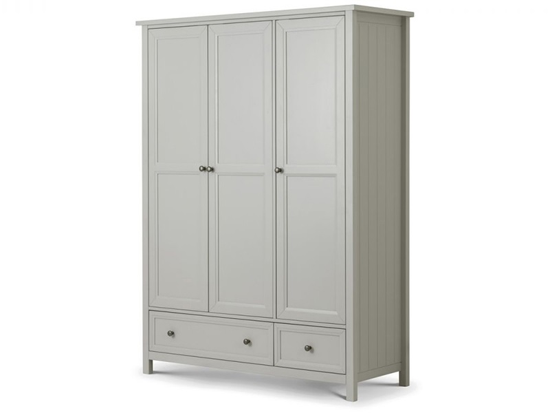 Julian Bowen Maine 3 Door Combination Wardrobe Dove Grey Wardrobe Image0 Image