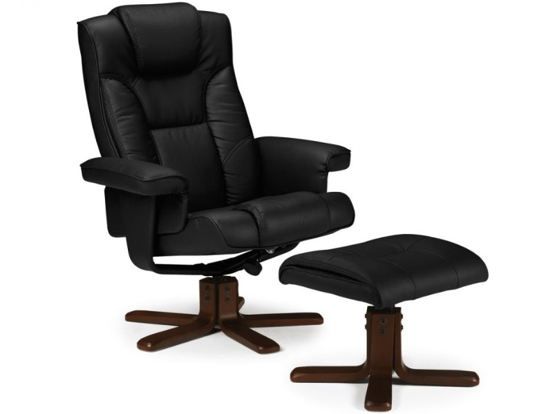 Julian Bowen Malmo Recliner and Footstool Black Armchairs Image0 Image