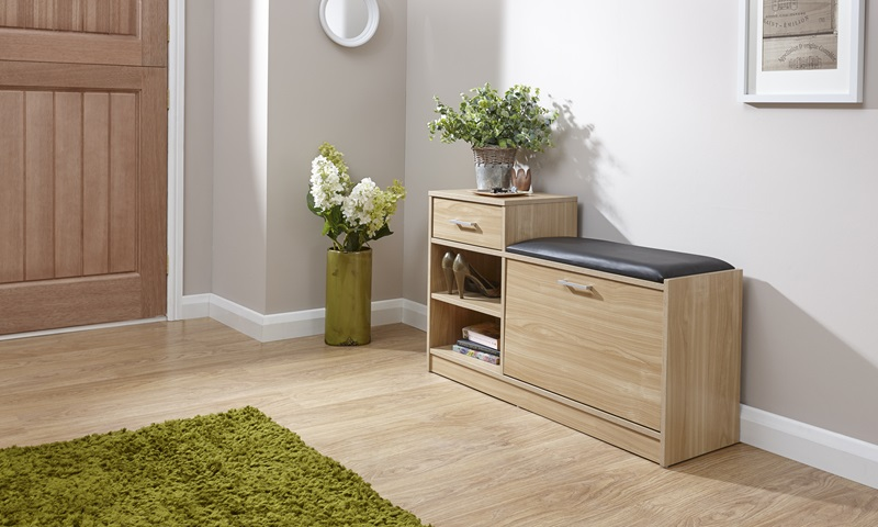 GFW Malmo Shoe Bench With Drawer Oak Shoe Storage Image0 Image