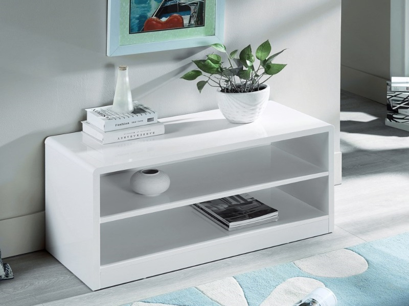 Manhattan High Gloss White Compact TV Unit Image0 Image