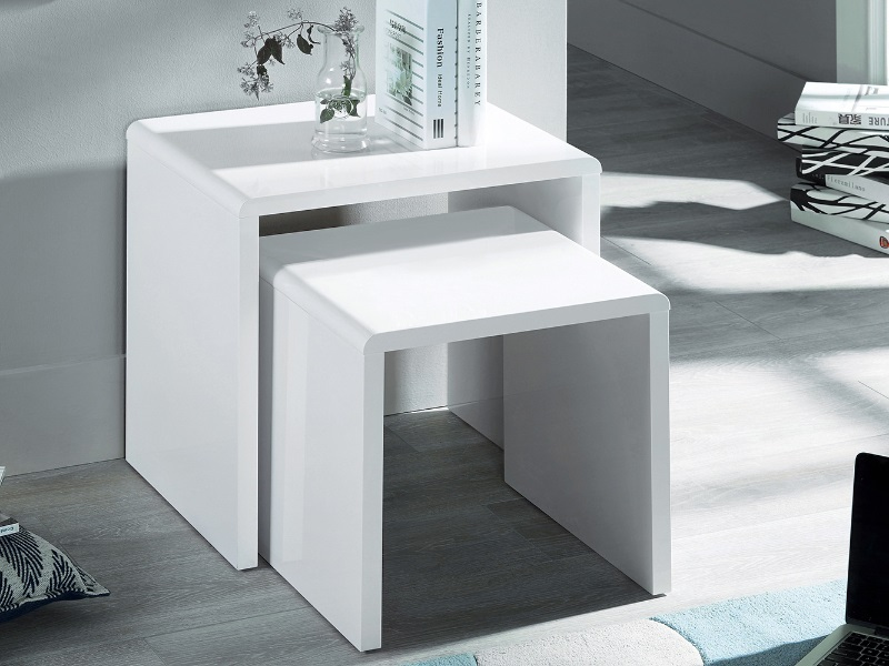 Manhattan High Gloss White Nest of 2 Tables Image0 Image