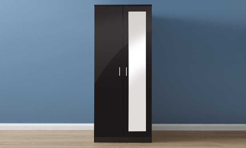 GFW Melbourne 2 Dr Mirrored Wardrobe Black Gloss and Walnut Wardrobe Image0 Image