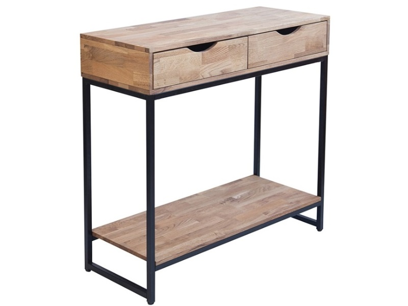 Mirelle Console Table Solid Oak Black Metal Frame Image0 Image