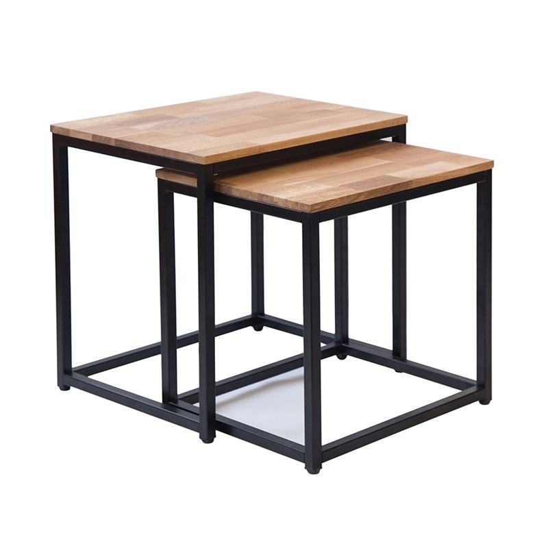 LPD Furniture Mirlelle Nest Of Tables Solid Oak Black Metal Frame Black Nest of Tables Image0 Image