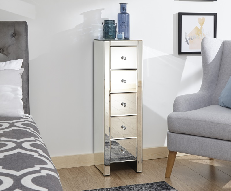GFW Mirrored 5 Drawer Slim Chest Drawer Chest Image0 Image