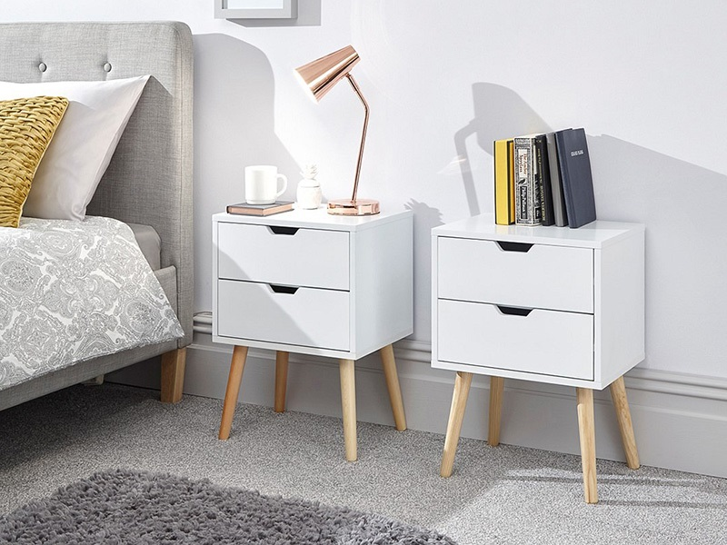 GFW Nyborg 2 Drawer Bedside Pair White Bedside Chest Image0 Image