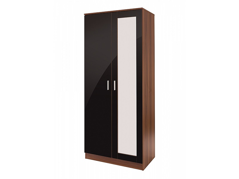 Ottawa Black Wardrobe with Mirror Main Image