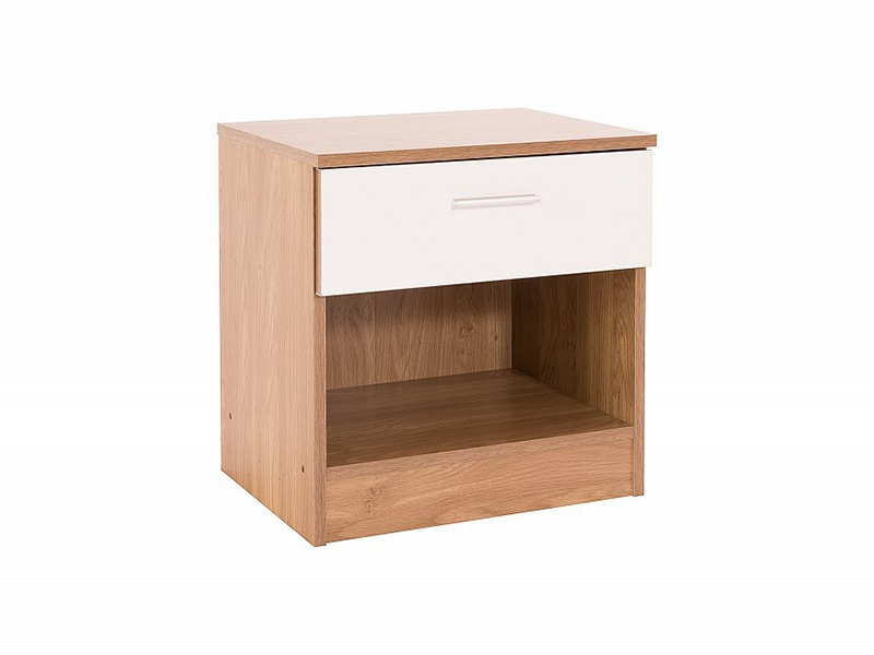 Ottawa - White Gloss - Bedside Table (1 Drawer) Main Image