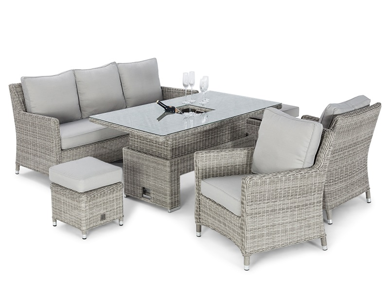 Maze Rattan Oxford Sofa Dining Set with Ice Bucket and Rising Table Dining Set Image0 Image