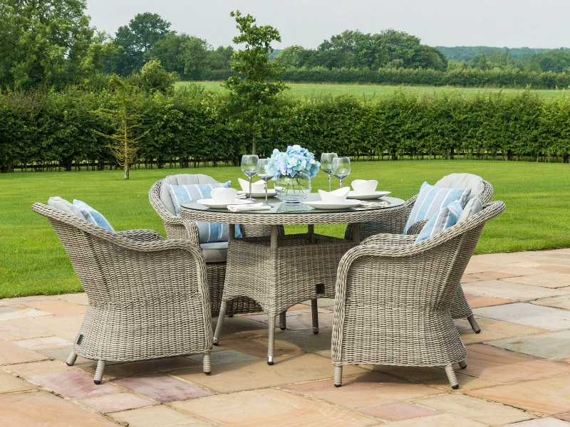 Oxford 4 Seat Round Dining Set with Heritage Chairs Image0 Image
