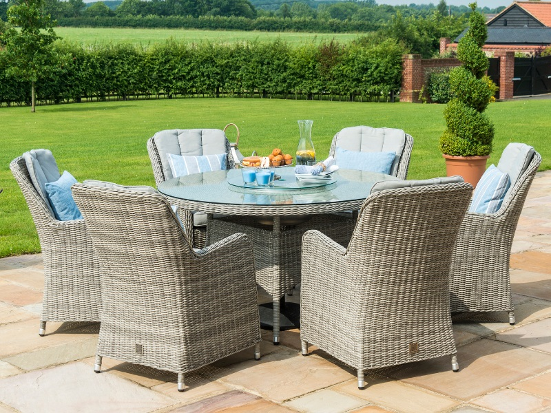 Oxford 6 Seat Round Ice Bucket Dining Set with Venice Chairs and Lazy Susan Image0 Image