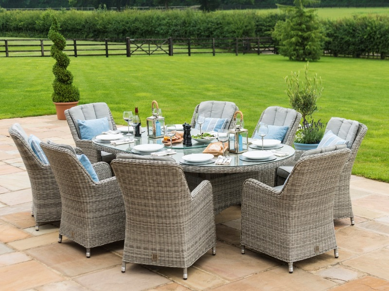 Oxford 8 Seat Oval Ice Bucket Dining Set with Venice Chairs and Lazy Susan Image0 Image