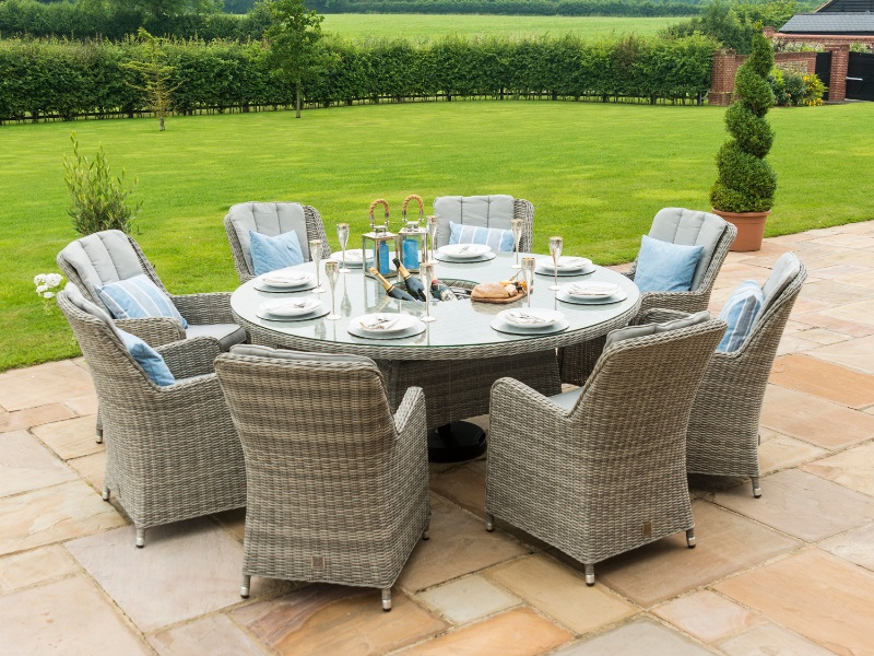Oxford 8 Seat Round Ice Bucket Dining Set with Venice Chairs and Lazy Susan Image0 Image