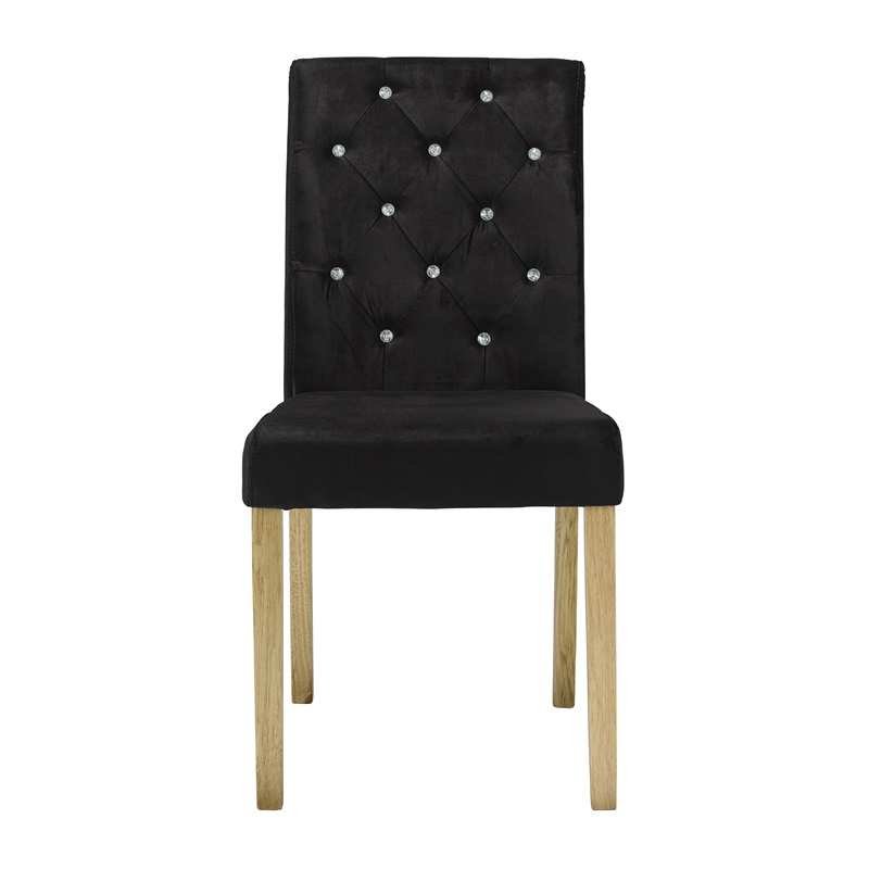 LPD Furniture Paris Chair Velvet (Pack of 2) 2\' 6 Small Single Black Dining Chair Image0 Image