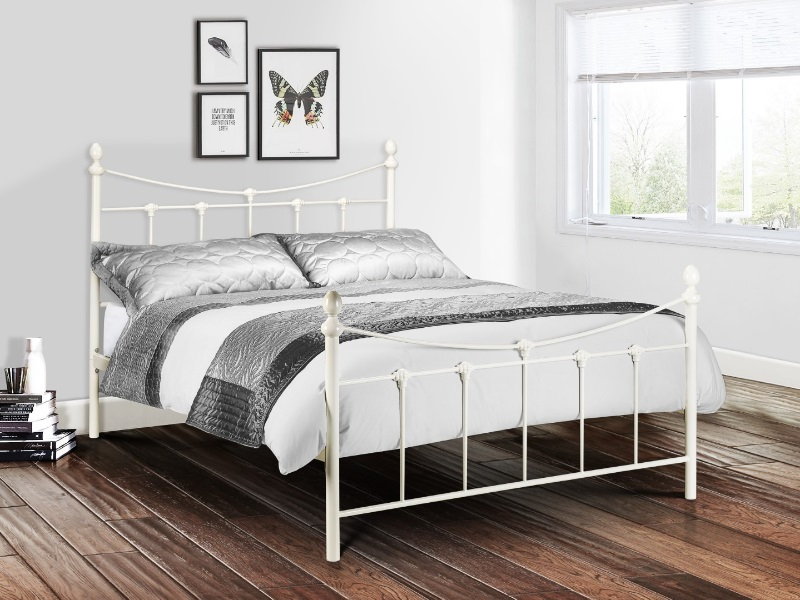 Julian Bowen Rebecca Bed 4\' 6 Double Stone White Metal Bed Image0 Image