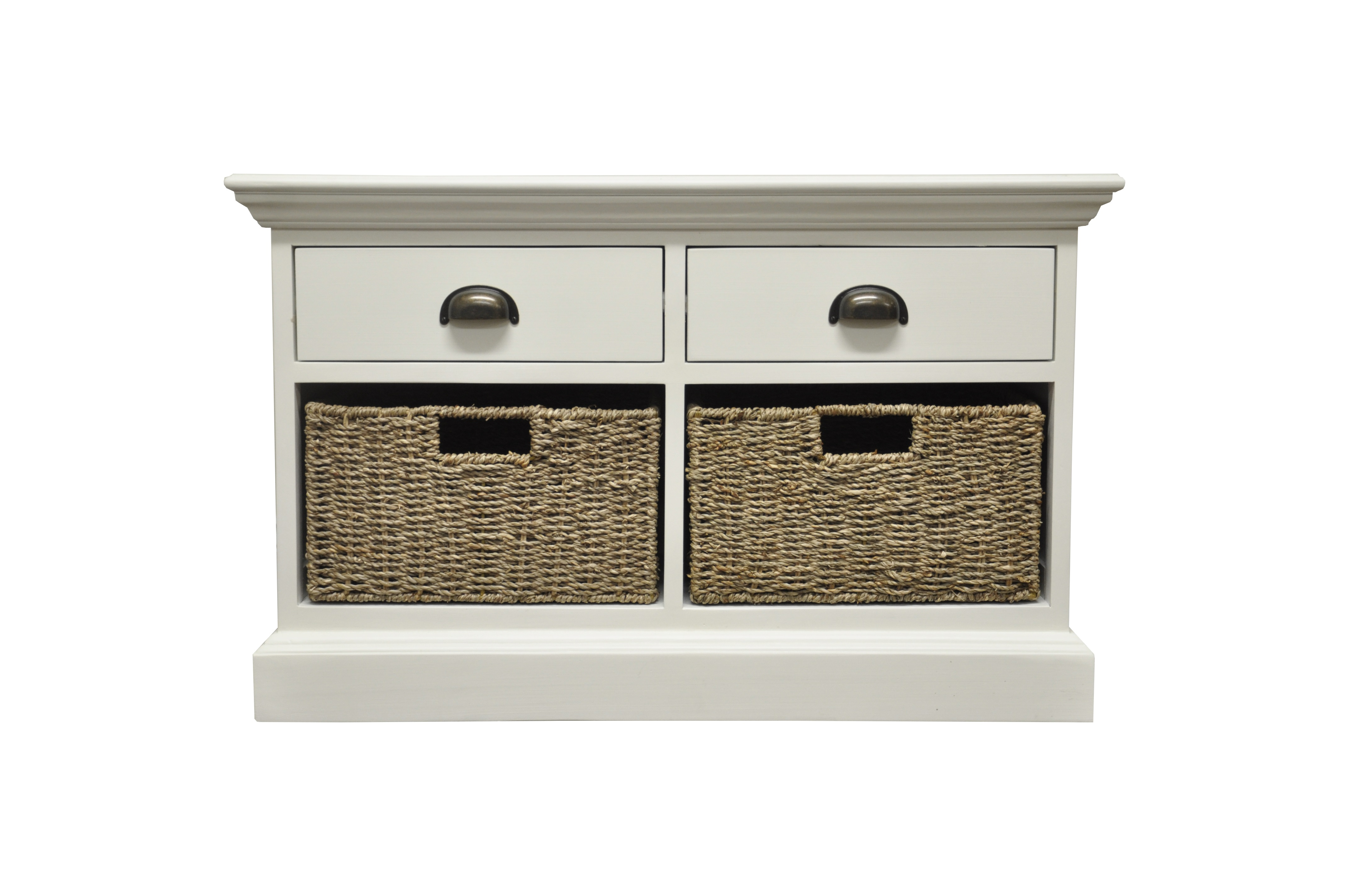 Furniture Express Rhodes 2 Drawer 2 Basket Unit White Storage Unit Image0 Image