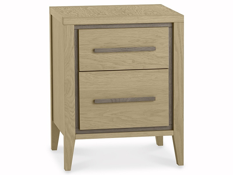 Bentley Designs Rimini Aged Oak and Weathered Oak 2 Drawer Nightstand Aged Oak and Weathered Oak 2 Drawer Bedside Chest Image0 Image