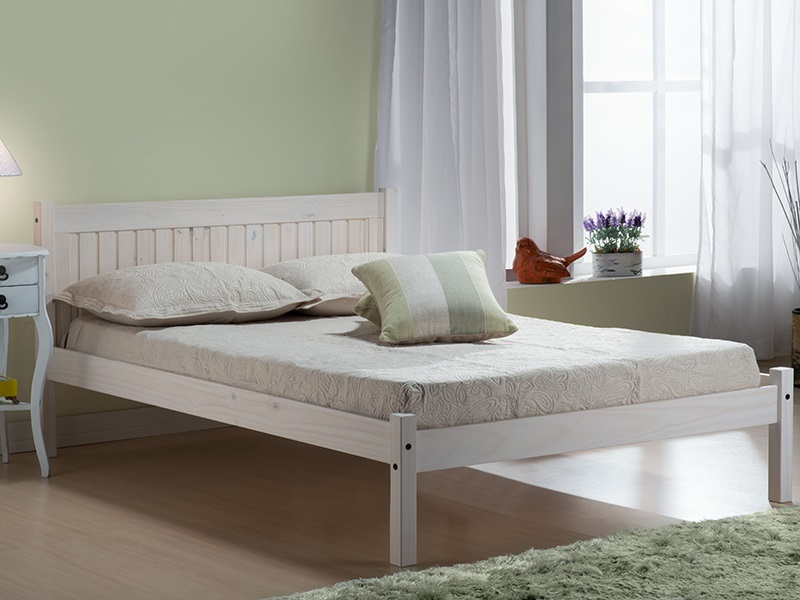 Birlea Rio White 4\' 6 Double White Wooden Bed Image0 Image