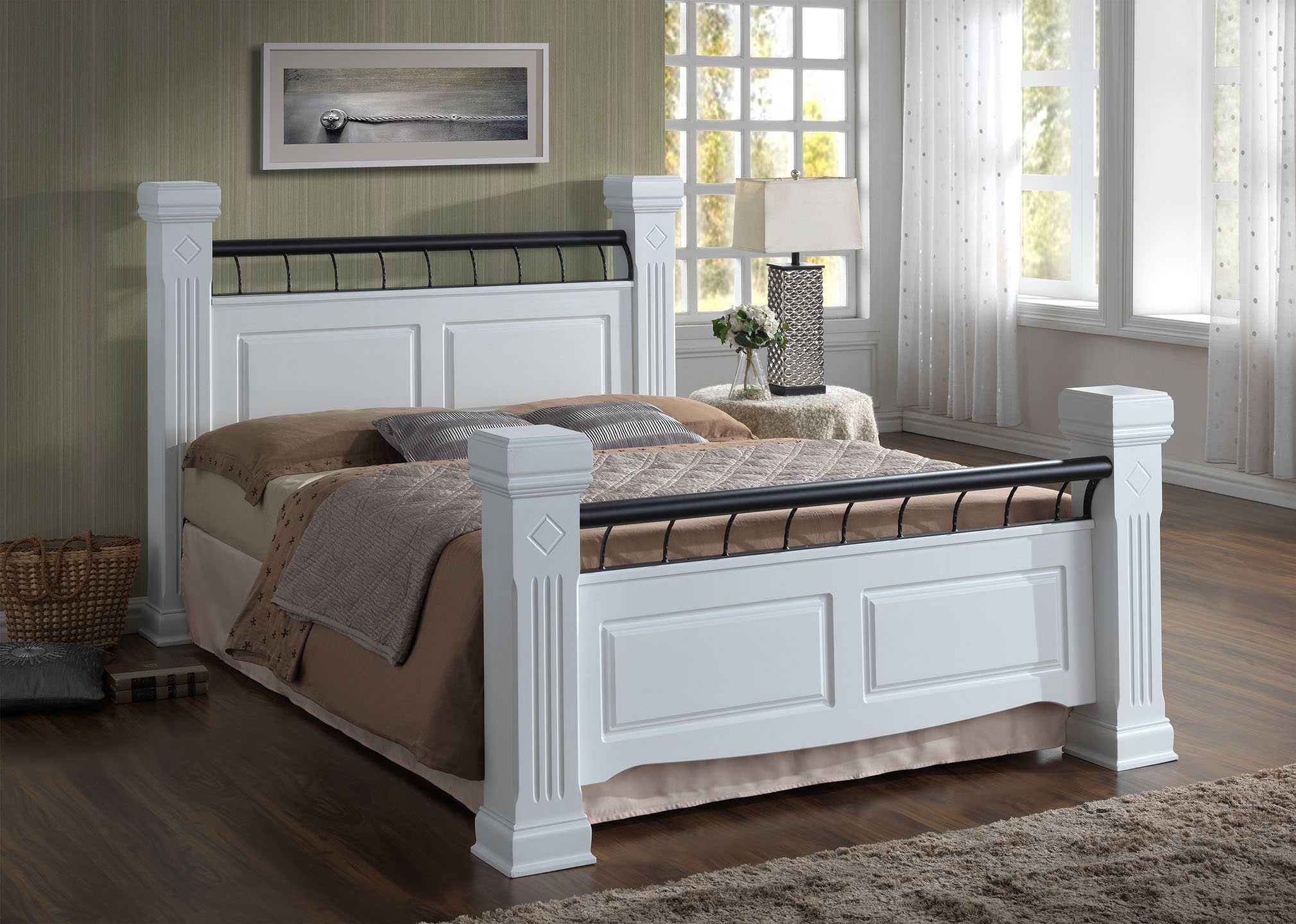 Ideal Furniture Rolo White 4\' 6 Double Wooden Bed Image0 Image