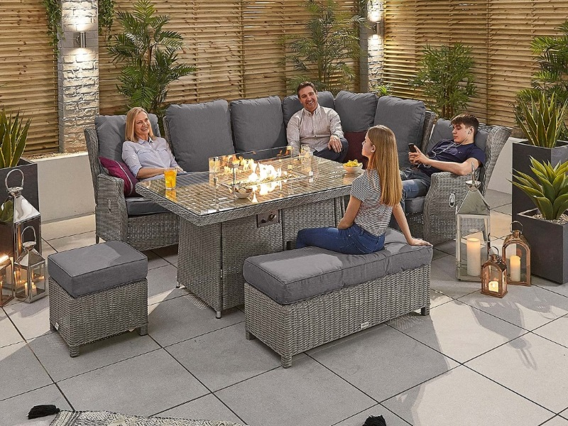 With Firepit Table Corner Sofa Set, Rattan Garden Furniture Set With Fire Pit Table