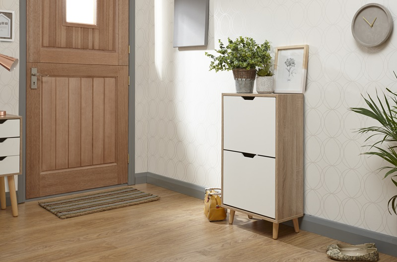 GFW Stockholm Two Tier Shoe Cabinet Oak Shoe Storage Image0 Image