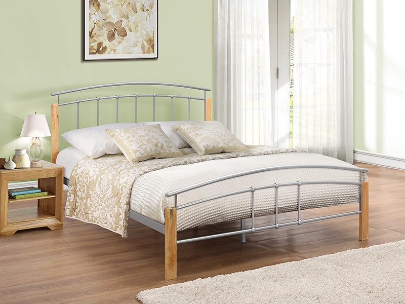 Birlea Tetras 4\' Small Double Silver and Natural Slatted Bedstead Metal Bed Image0 Image