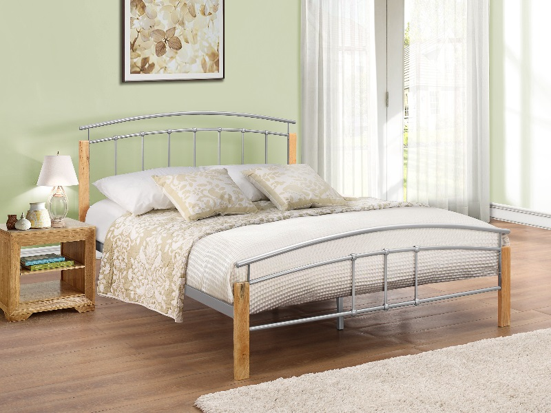 Birlea Tetras 4\' 6 Double Silver and Natural Slatted Bedstead Metal Bed Image0 Image