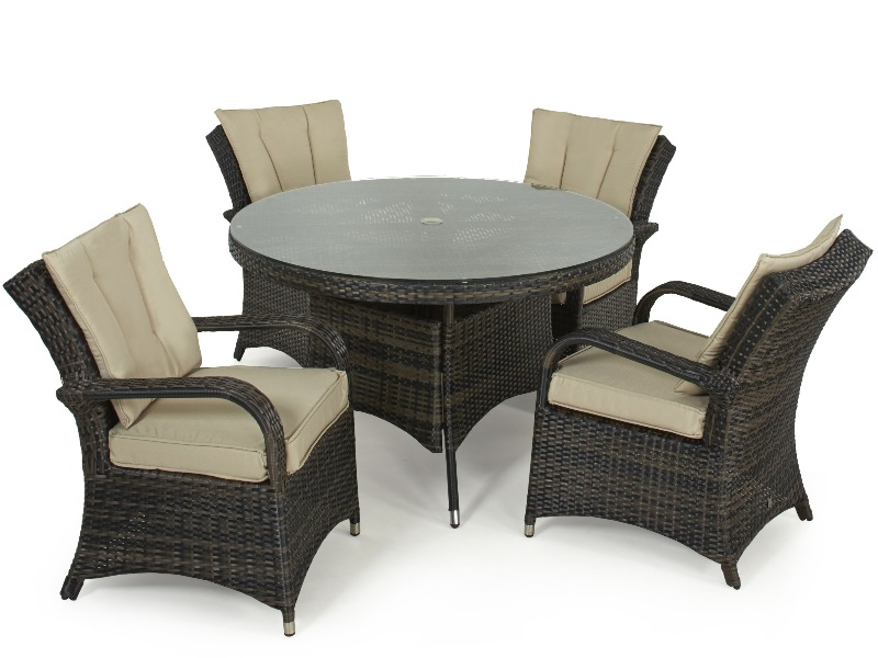 Maze Rattan Texas 4 Seat Round Dining Set Brown Rattan Dining Set Image0 Image