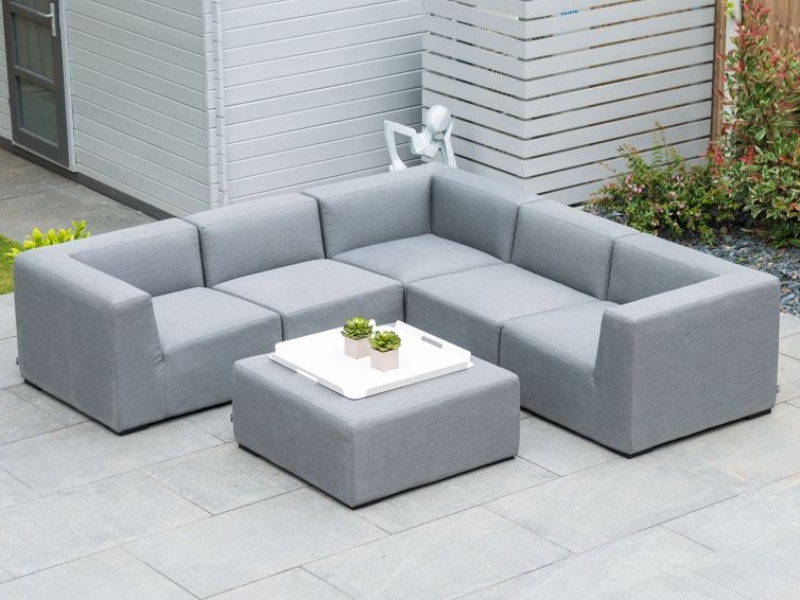 Nova Outdoor Living Toft Outdoor Fabric Corner Sofa Set with Footstool Light Grey Corner Sofa set Image0 Image