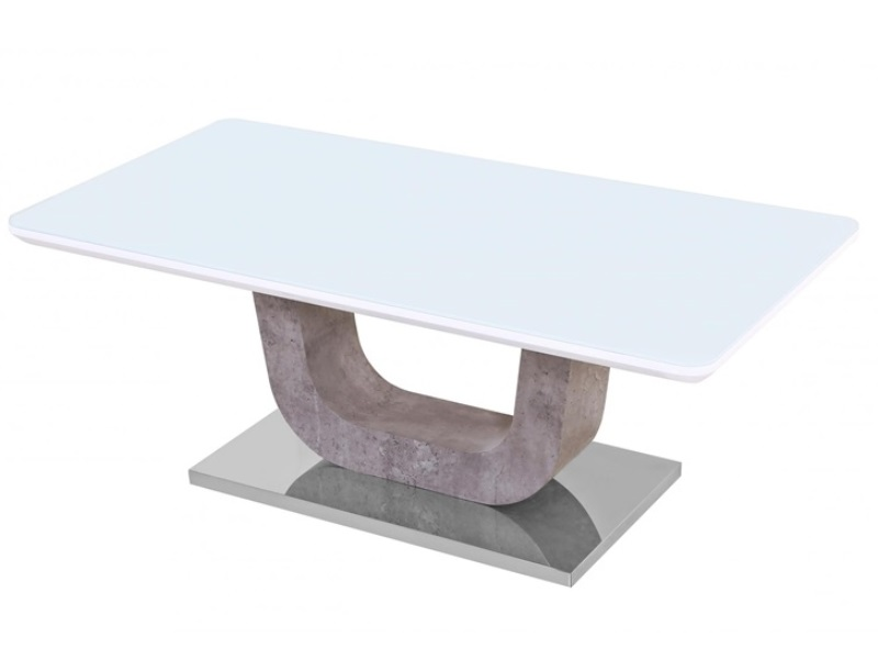 Heartlands Furniture Topaz White Glass Coffee Table With Stone Effect At Mattressman